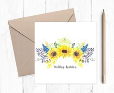 Ready to Write Wedding or Evening Invitation, Sunflower, wedding stationery, sunflower invitation, ready to write invitations Grandma Cards, Step Mum, Sunflower Wedding Invitations, Sunflower Bouquets, Brown Envelopes, Get Well Soon, Get Well Cards, Mothers Day Cards, Love