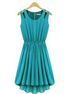 Woman Elastic Waist Cut Out Shoulder Sleeveless Green Dress with cheap wholesale price, buy Woman Elastic Waist Cut Out Shoulder Sleeveless Green Dress at wholesaleitonline.com !