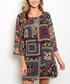 Look at this Black & Gray Flowers Shift Dress on #zulily today!
