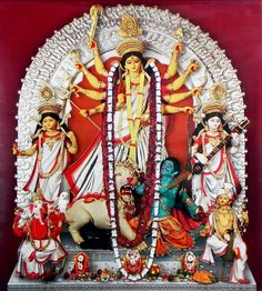 Durga with Family on Paper Poster - x 15 inches - Unframed Durga Ji, Saraswati Goddess, Kali Goddess, Durga Puja Kolkata, Hindu Deities, Hinduism, Bhagavata Purana, Ganesh Wallpaper, Lord Vishnu Wallpapers
