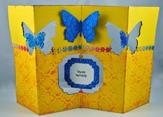 Accordion fold card created by Pam Hornschu with Dreamweaver and Stampendous products for Woodware UK.