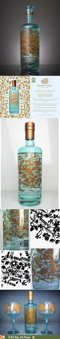 Silent Pool Gin with bottle design by Laura Barrett and agency SeymourPowell PD Cool Packaging, Beverage Packaging, Bottle Packaging, Brand Packaging, Vodka, Tequila, Alcohol Bottles, Liquor Bottles, Drink Labels