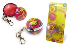 80217 Chupa Chups Lip balm ball.  When you love Chupa Chups and you're looking for a funky lip balm, this is a must have product. The ball can be opened and contains strawberry flavored lip balm. The keychain ring shows the words 'I ♥ Chupa Chups'!