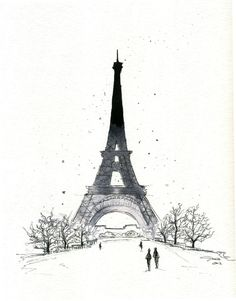 Watercolor and Pen - Paris in the Winter print. $25.00, via Etsy.