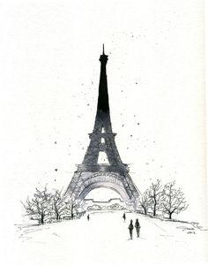 Watercolor and Pen - Paris in the Winter print. $25.00, via Etsy.