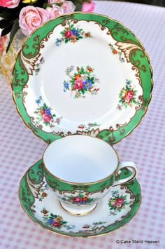Tuscan China Green Floral Vintage Teacup Trio