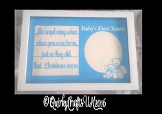 'Baby's First Christmas Photo Frame' papercutting template | Commercial Licence…