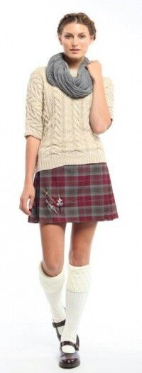 Young Woman in a Maroon & Slate Grey Mini - Kilt.