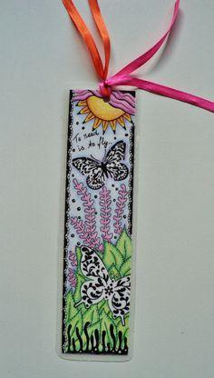 Bookmark, zentangled, pen and colored pencil, OOAK original, gift