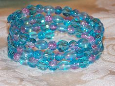 Aqua Pink Wrap Bracelet by EriniJewel on Etsy, $22.00