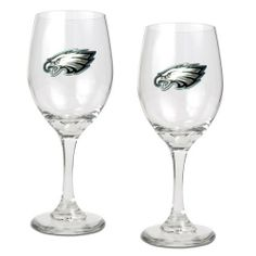 NFL Philadelphia Eagles 14-Ounce Wine Glass (Set of Two) by Great American Products. $28.99. Each glass has a sophisticated styling that works great with whites, reds or a mimosa.. Handcrafted  high-quality metal logo. High quality collectible design. This gift set contains 2 wine glasses decorated with high-quality metal logos.