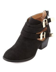 sueded cutout ankle bootie