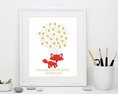 Red Baby Fox Fingerprint Balloons Guest Book for Baby Shower Birthday - Digital Printable Personalized Print - original thumbprint guestbook