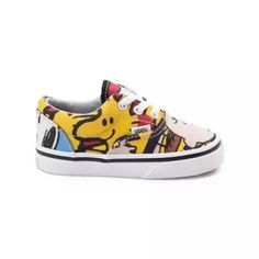 <p>Good grief! Team up with Charlie Brown and the gang for the new Era Peanuts Gang Skate Shoe from Vans! These timeless Era Peanuts Gang Skate Sneakers showcase a collage of character graphics printed on a sturdy canvas upper with padded collar for superior comfort and support. <b>Only available at Journeys Kidz!</b></p> <p><u>Features include</u>:</p> <ul> <li> Canvas upper with bold character graphic prints&l...