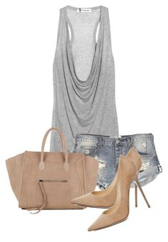 """""""Untitled #2357"""" by xirix ❤ liked on Polyvore featuring T By Alexander Wang, One Teaspoon, CÉLINE and Jimmy Choo"""