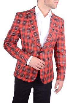 Chaqueta Hombre Americana Tartan Cameron Rojo tejido de cuadros rico en lana www.lacolonial.eu