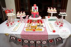 Fantastic dessert table at a New York birthday party! See more party ideas at CatchMyParty.com!