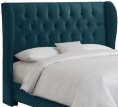 Amazon.com: Skyline Furniture Velvet Tufted King Wingback Headboard, Caribbean: Home & Kitchen
