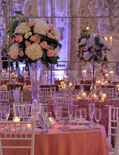 Trumpet Vases filled at the Crystal Ballroom with hydrangeas, spray roses, chablis sprays,crystal roses, tibet roses, Nena roses, green hanging ameranthus and salal greens.