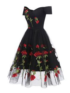 Women Floral Embroidered Mesh Dress Off The Shoulder Short Sleeves Vintage A-Line Ladies Party Dresses Vestidos Verano Black XL Black Party Dresses, A Line Prom Dresses, Party Dresses For Women, Short Sleeve Dresses, Short Sleeves, Lace Dresses, Dress Black, Casual Dresses, Floral Dresses