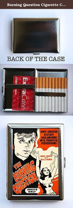 "Burning Question Cigarette Case Wallet Business Card Holder marijuana reefer pulp weird anti drug. Case hold about 18 to 20 cigarettes. Or you can hold Ids, business cards or other things. The case is metal with two hinged side. This case opens through a side push button. The size of the case is 4 1/4"" tall by 3 1/4"" inches wide closed by 1/2"" deep. Image is protected by clear epoxy."