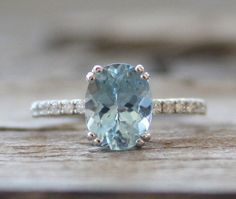 1.70 Cts. Oval Aquamarine Diamond Ring in 14K White Gold - March Birthstone