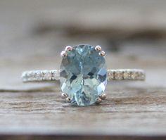 1.70 Cts. ovale aigue marine diamant bague en 14K or par Studio1040, $890.00