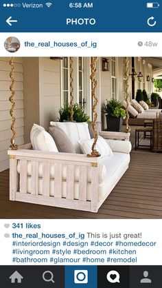Want a thick ship rope with a hanging bench on porch