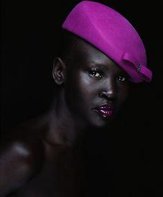 -DD // Black Is Beautiful / LoveScene Magazine (african american model,purple hat,purple lips,purple lipstick) Her skin is awww so beautiful and refreshing. Magenta, Shades Of Purple, Purple Haze, Lilac, Dark Skin Tone, Brown Skin, Dark Complexion, Dark Brown, Black Is Beautiful