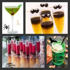 Directions for making a variety of yummy adult Halloween drinks.