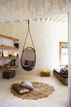 Indoor hanging chairs on pinterest swing chairs hanging - Indoor hanging egg chair for bedroom ...