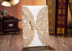 Amazon.com : Wonder Palaza Lase Cut Wedding Invitation Card with Butterfly(set of 50) (Champagne) : Office Products