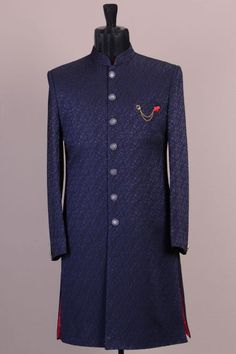 Blue & Black Woven Indowestern Sherwani-VK1723 Sherwani For Men Wedding, Wedding Dresses Men Indian, Sherwani Groom, Wedding Dress Men, Wedding Wear, Engagement Dress For Groom, Engagement Dresses, Groom Attire, Groom Dress