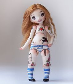 porcelain bjd art doll with vintage inspired tattoos by meowness Ooak Dolls, Art Dolls, Blue And White Socks, Face Mold, Kewpie, American Traditional, Doll Parts, Little Doll, Ball Jointed Dolls