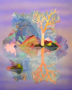 Kate Shaw this piece of work looks almost mystical I love how the lilac makes it looks misty. Illustrations, Illustration Art, Landscape Art, Landscape Paintings, Kate Shaw, Collages, Magic Realism, Sketch Inspiration, Australian Artists