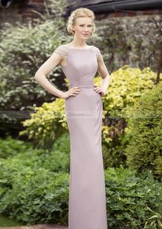 Chiffon Long/Floor-Length Sheath/Column Sleeveless Scoop Neck Covered Button Bridesmaid Dress With Beaded