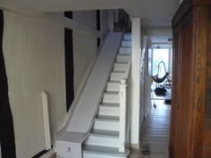 Back steps. Add traction liner for Checkers. Diy Slides, Indoor Slides, Outdoor Stair Railing, Stair Railing Design, Basement Stairs, House Stairs, Dog Ramp For Stairs, Small Space Interior Design, Small House Design