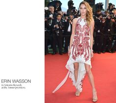 "ERIN WASSON in Antonio Berardi, at the ""Amour"" premiere in Cannes. Photo: George Pimentel / WireImage"