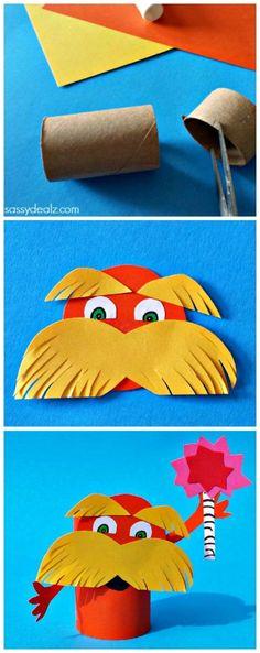 Lorax Toilet Paper Roll Craft For Kids (Dr. Suess art project) #DIY | http://www.sassydealz.com/2014/02/lorax-toilet-paper-roll-craft-kids-d...