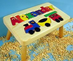 Train Puzzle Name Stool :: For That Occasion