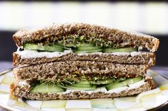Cucumber, Cream Cheese, and Sprout Sandwiches with Grainy Mustard by Foodie with Family