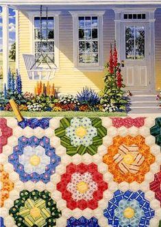 Grandmother's Flower Garden Quiltscape by Rebecca Barker