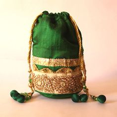 2 Raw Silk ethnic bags A pack of 2 bags by Craftmantra on Etsy, $35.00