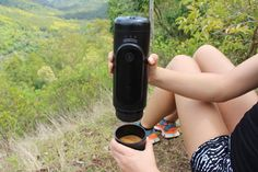 NowPresso Portable Espresso Machine is the first Portable Espresso Maker that automatically pours your coffee for you straight into its detachable drinking cup, so you can enjoy a fresh espresso anywhere at anytime!    Now you can enjoy an incredible coffee on your next outdoor adventure! Whether hiking, camping, bush walking, trekking, backpacking, 4WD or in a caravan, van or boat you can now always have a fresh espresso with the NowPresso Portable Coffee Machine.