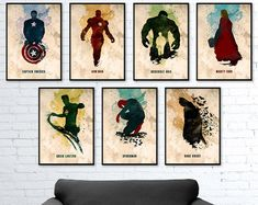 Set de acuarela Poster de superhéroes, Capitán América, Hulk, Iron Man, Thor, Batman, Spiderman, linterna verde