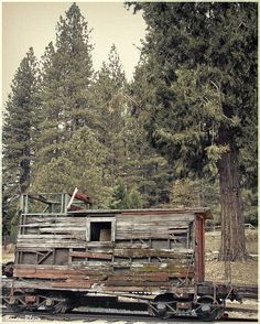 One of the last wooden cabooses of the West Side Lumber Company that operated from 1900 until 1962 near Tuolumne, California.