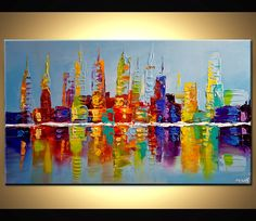 Modern 40 ORIGINAL City Lights Acrylic Painting by OsnatFineArt