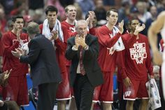 Bo Ryan and the Badger bench celebrate a great play during the Elite 8 victory over No. 1 seed Arizona.