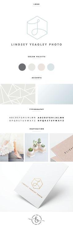 Subtle hexagon logo design and brand board  /  by Heart & Arrow Design