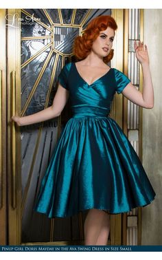 Ava Swing Dress in Turquoise Taffeta